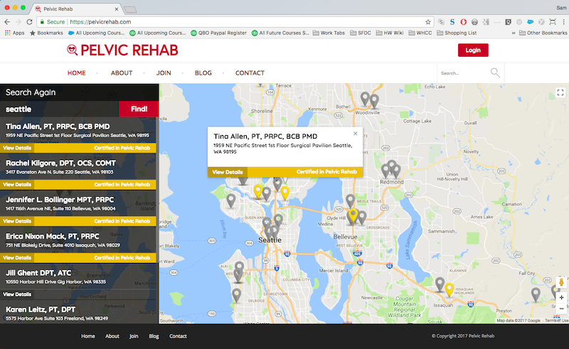 pelvic rehab map search results popup